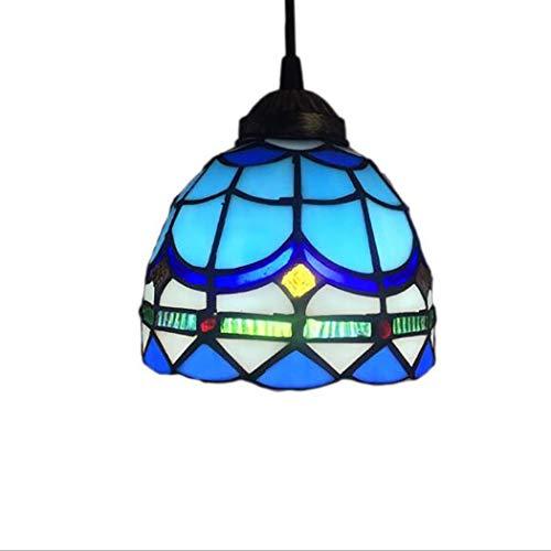 Estilo Tiffany Mar Azul Techo Colgante de techo 8 Pulgadas Arte Vintage Araña de Cristal Victoriano Antiguo Comedor Dormitorio Colgando Lámparas