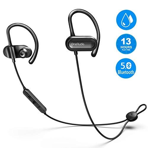 OneAudio Bluetooth Headphones in Ear, Sports Earphones V5.0/13 Hours Playtime/Microphone CVC Noise Reduction / IPX4 Waterproof, Wireless Headset for Running Jogging Workout (Black)