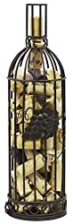 Grapevine Wine Bottle Shaped Cork Corral Holder, Bronze