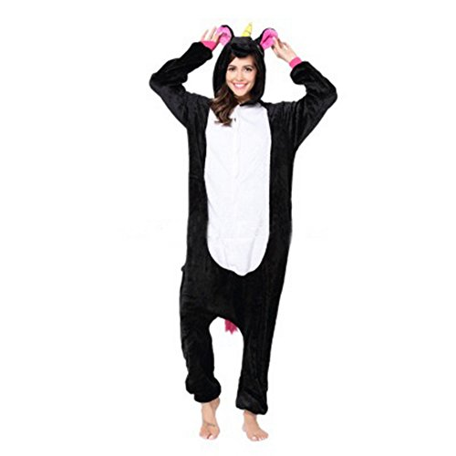 Wenyujh Damen Mädchen Tier Schlafanzug Cartoon Einhorn Cosplay Flanell Pyjamas Fasching Halloween Kostüm Jumpsuit (Kostüme Halloween Cartoon)