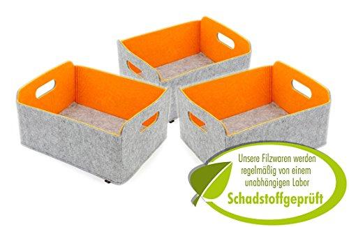 (3er Set hochwertiger, faltbarer Aufbewahrungskörbe von Luxflair aus edlem, zweifarbigem Filz in graumeliert/orange (+ weitere Farben). Länge 30cm, Breite 24cm, Höhe 15cm. Aufbewahrungskorb, Ordnungsbox, Regalbox, Faltbox, Spielzeugkorb, Filzkorb, Briefkorb. Besonders pflegeleicht: waschbar bei 30°)