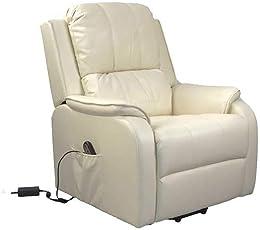 Pharao24 TV Sessel in Creme Weiß elektrisch verstellbar