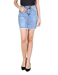 Toxik3 Mini Falda Vaquera para Mujeres Falda Corta en Jeans Denim Azul con  Strass Talla XL 9af8657eb354