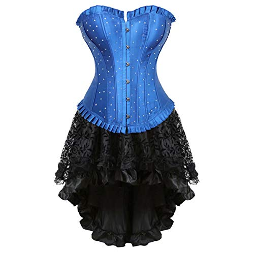 Abito Gothic Corsetto e Gonna Bustino Diamante Pizzo Burlesque Sexy Donna Lingerie Fantasy Set Blu Nero 6XL
