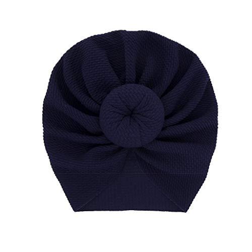 YWLINK Neugeborenes Baby Einfarbig MüTze Kopftuch MäDchen Solide Geknoteter Hute Beanie Kopfbedeckung Kappe(Marine,18x16cm)