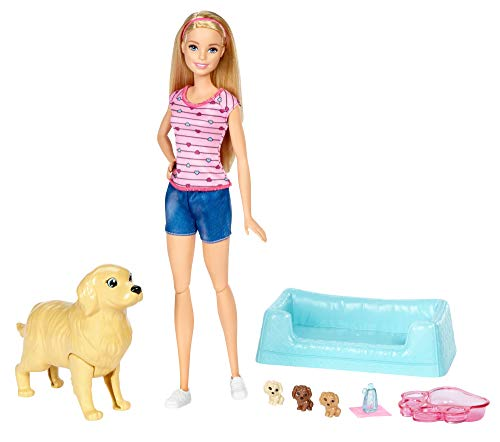 Barbie FDD43 - Hundemama mit Welpen und Puppe, Puppen Spielset mit Badewanne und Zubehör, Mädchen Spielzeug ab 3 Jahren - Herz Puppen Mit