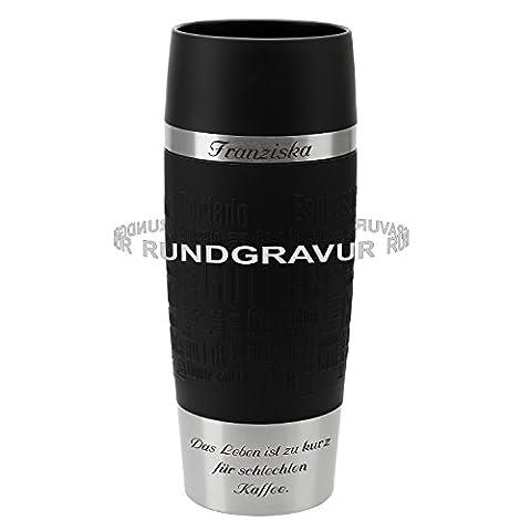 Emsa Thermobecher TRAVEL MUG Schwarz 0,36 L mit persönlicher Rund-Gravur gelasert Edelstahl Soft-Touch-Manschette mit Quick Express