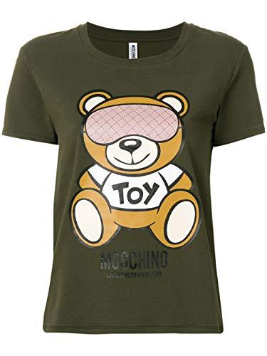 Moschino t-shirt girocollo donna underwear stampa orso bear verde army am18mo15