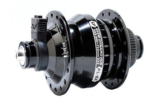 Shutter Precision pl-8X Fahrrad Dynamo Hub für Centerlock Bremse, Xtreme,,, 6Volt 3Watt, Schwarz, für QR 15x 100mm, Pl-8x, schwarz (Hole Hub-28)