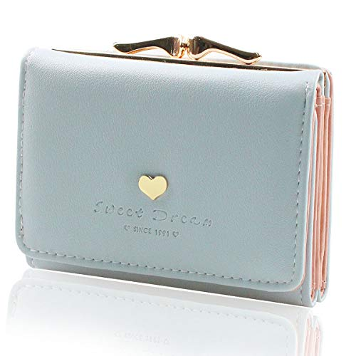 Geldbörse Damen - Geldbeutel Damen Leder Brieftasche, Portmonee Damen Leder Elegant Süß Handtasche Portemonnaie Geldbeutel für Frauen (Blau)