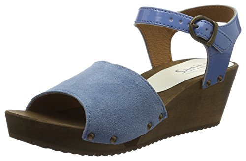 Sanita Edel Wedge Flex Sandal, Bride cheville femme Blau (Blue)