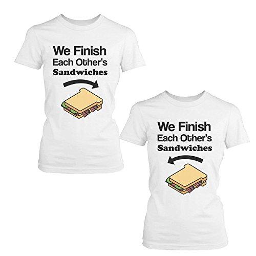 We acabado Sandwich de cada otros camisas, diseño de a juego BFF mejores amigos camisetas -  Blanco -  izquierda-Small/derecho-Small