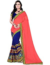 Riva Enterprise Women's Georgette Saree With Blouse Piece (Riva_14_Pink)