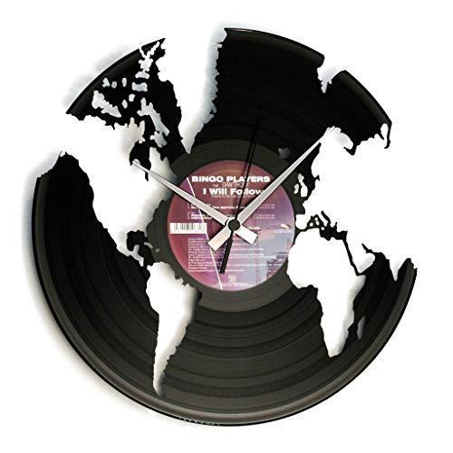 DISCOCLOCK - DOC014 - WORLD - Wanduhr aus Vinyl Schallplattenuhr mit Weltmotiv / Globus Motiv Upcycling Design Uhr Wand-Deko Vintage-Uhr Retro-Uhr MADE IN ITALY - Schnelle lieferung 24 uhr!