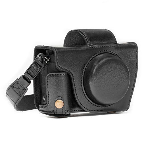 MegaGear MG688 Etui de Protection avec Bandoulière/Accès Batterie en Cuir pour Appareil Photo Canon PowerShot G5 X Noir