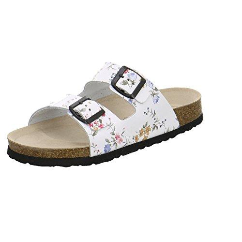 AFS-Schuhe 2100, Sportliche Damen-Pantoletten, Praktische Arbeitsschuhe, Hochwertiges, Echtes Leder Größe 40 Weiß (Weiss/Flower)