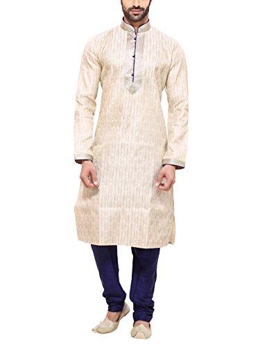 RG Designers Men's Silk Kurta Pajama Set (10581GoldKurta Pajama Set42_Gold_X-Large)
