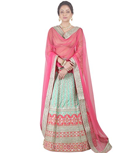 Indian Ethnicwear Bollywood Pakistani Wedding Sea Green & Pink A-Line Lehenga Semi-stitched