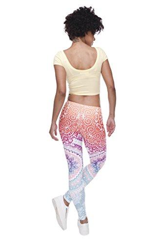 Damen Sport Leggings Hipster Jogahose Muster Sporthose Mädchen Lang Treninganzug Blogger Fullprint Onesize AZTEC ROUND OMBRE