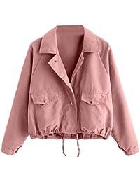 39e5f4fd653787 Damen Jacken Elegante Freizeit Unifarben Fashion Longsleeve Mäntel Mode  Marken Chic Knöpfe Schließen Herbstmode Kurze Rosa