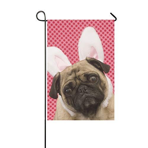 Kostüm Teen Bunny - Dekorative Outdoor doppelseitige niedlichen Bunny Mops Kopf gekippt Garten Flagge, Haus Hof Flagge, Garten Hof Dekorationen, saisonale Willkommen Outdoor Flagge 12 X 18 Zoll Frühling Sommer Geschenk