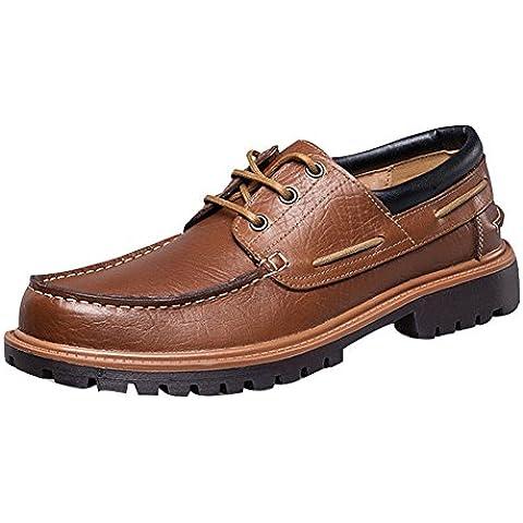 Aiyuda Top-Sider vestito Stringate da uomo in pelle casual comfort lavoro guida barca scarpe, Uomo, Brown, 8.5 UK/46 CN