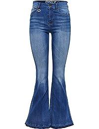 Only Damen Schlag Jeans Hippie 70er Party Stretch Hose Retro Marlene Bootcut