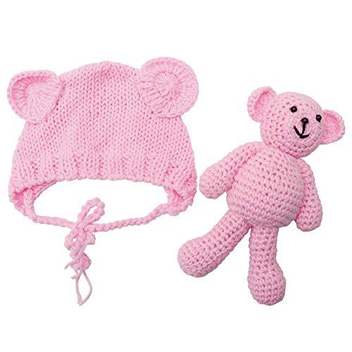 Neugeborenes Baby Fotografie Foto Prop Requisiten Häkel-Kostüm für Babys, Mütze mit Bär Puppe Spielzeug