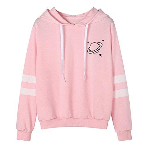 Hoodie Pullover Damen Btruely Herbst Mode Hooded Sweatshirt Mädchen Pullover (XL, W Rosa) (Mode Buchstaben Lässig)