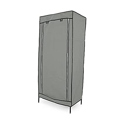 Cablematic - Fabric wardrobe for clothes storage and organiser 70 x 45 x 155 cm gray with roll-up door - low-cost UK light shop.