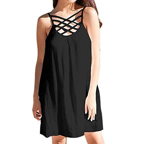 en Kurze Sexy Solid Ärmellos Camisole Criss Cross Strandkleid für Frauen Casual Strand Princess Minikleid ()