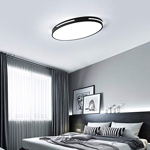 8 Licht Kronleuchter Oval (24W Ultra Thin Deckenleuchte LED Oval Modern Design Deckenlampe Kleines Schlafzimmer Arbeitszimmer Beleuchtung Leuchte Einfach Decken Eisen Acryl Lampe 58cm * 38cm * 5cm (Schwarz, Weißszlig; Licht))