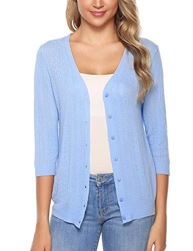 Sykooria Damen Cardigan Kurz Langarmshirt Loose Fit Einfarbig Hautfreundlich Outwear Lady-fit Strickjacke Knopf Blau
