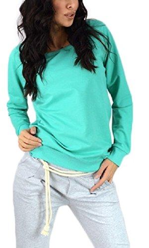 Zeta Ville - Femme sweat-shirt pull molletonné fermetures éclair col rond - 143z Menthe