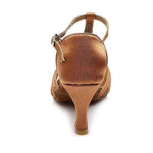 HIPPOSEUS Donne sala da ballo scarpe/scarpe da ballo/scarpe latino raso donne,Modello-IT227 7CM Marrone