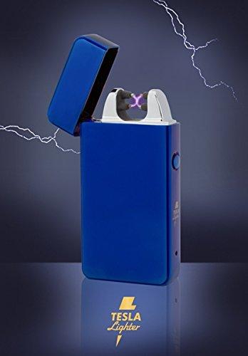 TESLA Lighter T11 | Lichtbogen Feuerzeug, Plasma Double-Arc, elektronisch Wiederaufladbar, Aufladbar mit Strom per USB, Ohne Gas und Benzin, mit Ladekabel, in Edler Geschenkverpackung, Blau