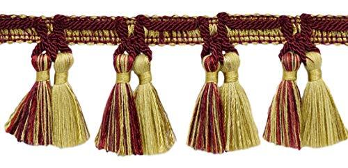 Goldene Farbe Dekorative Trimmen (DecoPro TFV025 Quastenfransen, 16,5 m, 64 mm, Burgunderrot, Gold, Rot; Farbe: Golden Cherries - VNT11 (16,5 m))