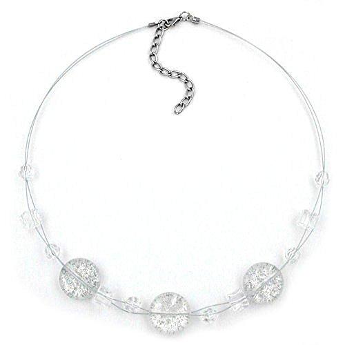 Collana Gallay, 3 x vetro cristallo-pagliette 45 cm, lunghezza: 45 cm, Altro: filo metallico