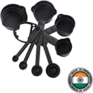 Horlite Popular Combo - 8Pcs Black Measuring Cups and Spoons Set, Silicone Series Spatula and Brush Set