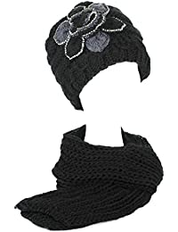 Damen/Frauen Mädchen Gestrickt Bestickt Blume Strickschals/Schal Kappe/Hüte/Mütze Set mit Strasssteine