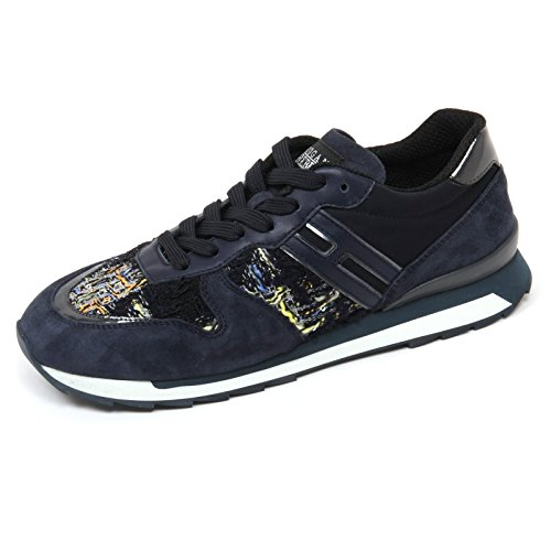 Hogan c7982 sneaker donna rebel r261 scarpa blu scuro shoe woman [39]