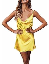 8390f4824685 LUBITY Été Femme sans Manches Couleur Unie Chic Sexy Profonde V-Cou Licol  Sangle Jupe Courte Sac Hanche Mini Robe Couleur…