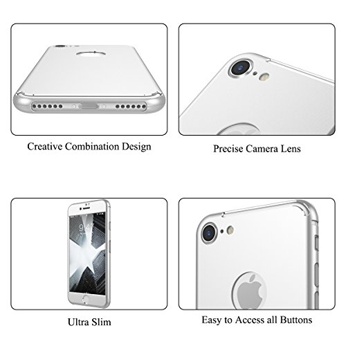 CE-Link Custodia per iPhone 7 Plus/iPhone 8 Plus Fronte e Retro 360 Gradi Copertura Completa, iPhone 8 Plus Pellicole Protettive Cover iPhone 7 Plus Full Body Ultra Slim con Build-In Pellicola Protett Argento