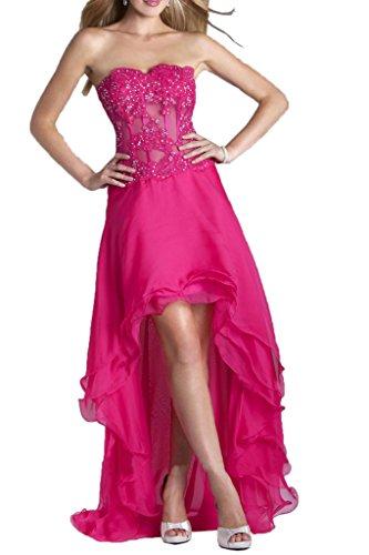 La_mia Braut Pink Royal Blau Asymettrisch Spitze Chiffon Hi-lo Abendkleider Partykleider Promkleider Bodenlang Pink
