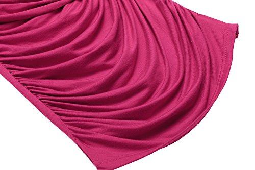 Zeagoo Damen Sexy V-Ausschnitt Kurzarm Tunika Blusen Oberteile Shirt mit Rüschen A-Rosarot