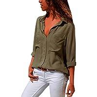 Geili Damen T-Shirt,Mode Frauen Langarm Umlegekragen Solid Color Chiffon T-Shirt Langarmshirt Basictop Büro Damen... preisvergleich bei billige-tabletten.eu