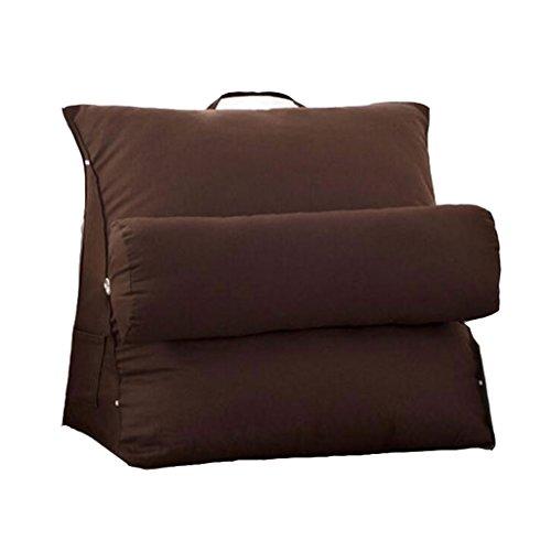 Dreieck Kopfstütze Kissen anpassen Leinwand Kissen Büro Lendenkissen Sofa Soft Bag Bed Neck Pad (Farbe : Brown, größe : L)