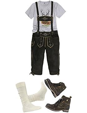 Trachten-Set für Herren 5-teilig Echte Bock-Lederhose (Kniebund, braun mit uriger Stickerei), Shirt oder karierten...