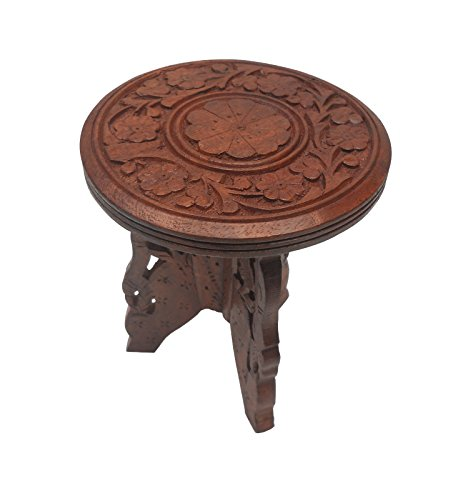 Pindia Wooden Work Fancy Designer Folding Stool Table