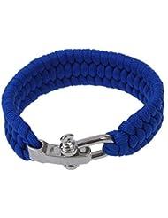 SODIAL(R)7 Strand survie Weave militaire Bracelet cordon Buckle - Bleu